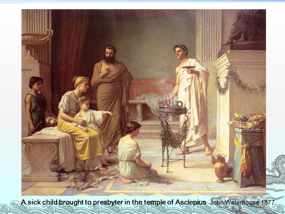 sick child brought to a physician of asclepius
